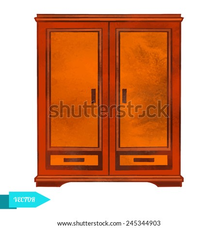 Watercolor wooden minimalistic cupboard closeup isolated on a white background - stock vector