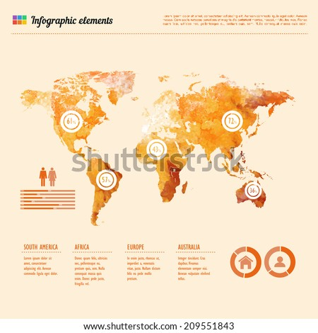Watercolor world map infographic template showing the demographic areas with proportionate percentages of statistics and text columns - stock vector