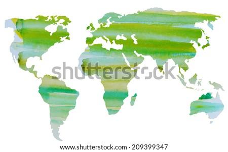watercolor world map vector in   green - stock vector