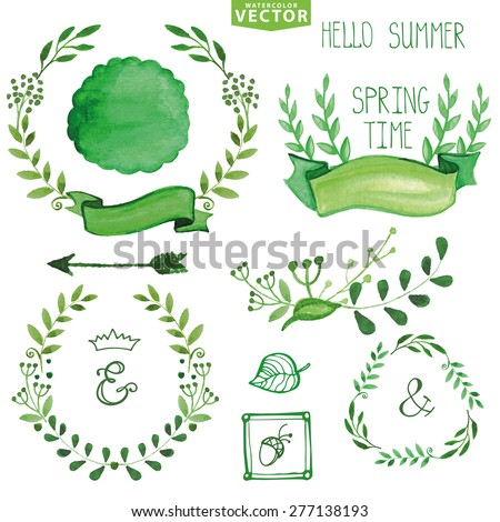Watercolor wreaths and laurels,decor ribbons,badges set. Hand painted green branches,leaves,petal elements.For design template,invitation,logo. Nature,organic,bio logotype.Vector,spring,summer. - stock vector