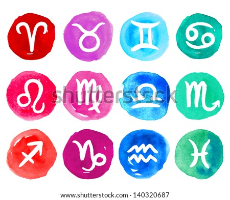 Watercolor zodiac icon set, vector zodiac signs. Zodiac icons for horoscope, astrology concept. - stock vector