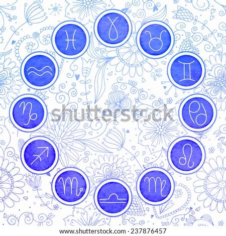 Watercolor zodiac signs set. EPS 10. No transparency. No gradients.  - stock vector