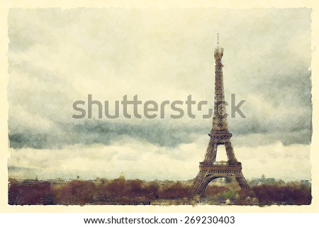 Watercolour landscape view of Paris and the Eiffel Tower. EPS10 vector format. - stock vector