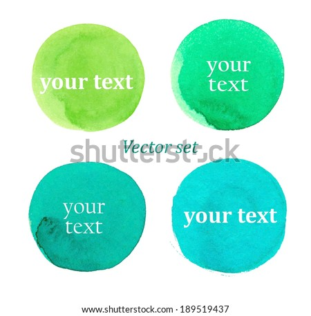 Watercolour round stains. Vector set - stock vector