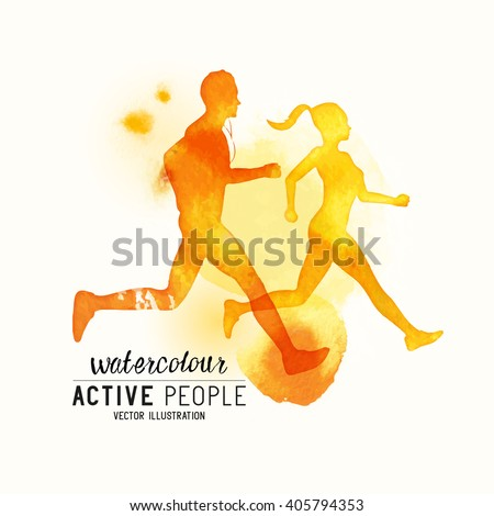Watercolour running People Vector. Active people running. Watercolour style. Vector illustration. - stock vector