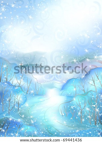 Watercolour-stylized vector of a calm winter scenery small path winding between snowy bushes - stock vector