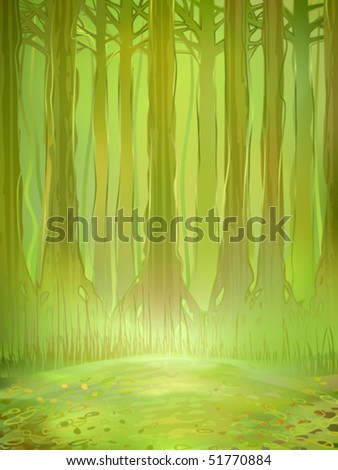 Watercolour-stylized vector of a dense green jungle forest in the background and a small sunlit clearing in the foreground (AI-optimized EPS 8 file, other landscapes are in my gallery) - stock vector