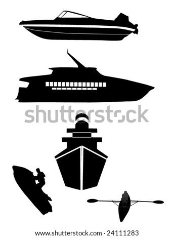 watercraft silhouettes (2nd edition) - stock vector