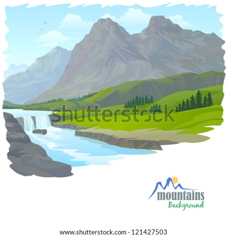 WATERFALL , MOUNTAIN AND VALLEY - stock vector