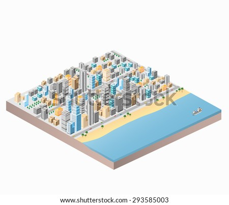 Waterfront City beach and palm trees isometric city map with lots of buildings, skyscrapers, roads and sea coast - stock vector