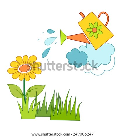 watering a flower, a primitive drawing - stock vector
