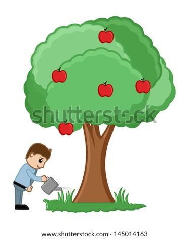 Watering a Tree - Vector - stock vector