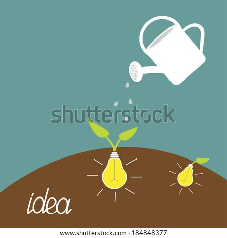Watering can and lamp bulb plant. Growing idea concept. Vector illustration. - stock vector