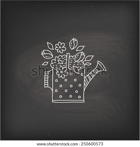 watering can flowers - stock vector