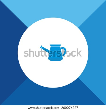 Watering Can Icon on Blue Background. Eps-10. - stock vector