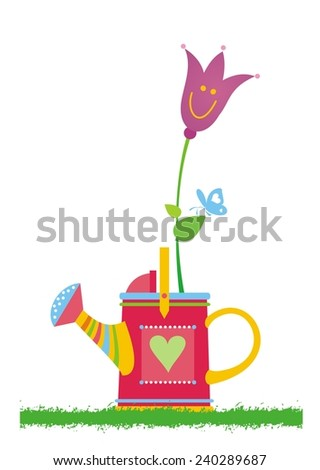 Watering can. Vector illustration.  - stock vector