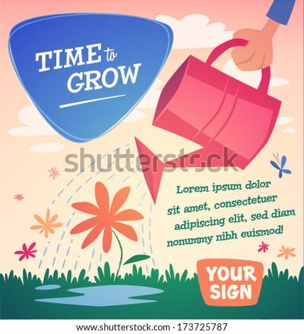 Watering flowers. Vector illustration. - stock vector