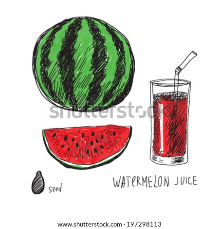 watermelon and juice, color doodle illustration - stock vector