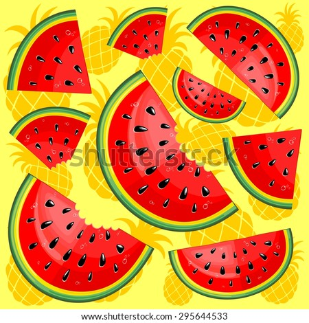 Watermelon and Pineapple Juicy Pattern  - stock vector