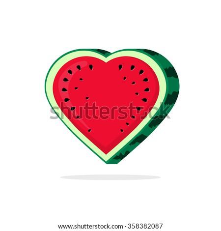 Watermelon love heart slice vector logo, vegan food like flat icon, juicy sweetness water melon, symbol of valentine day, romantic dessert, candy label modern illustration design isolated on white - stock vector