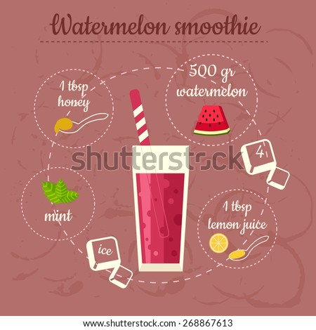 Watermelon smoothie recipe. Menu element for cafe or restaurant with energetic fresh drink. Fresh juice for healthy life. - stock vector