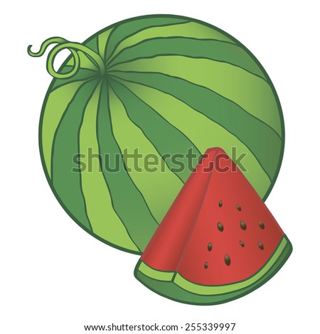 Watermelon with a segment containing seeds. Vector illustration. - stock vector