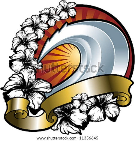 wave and hibiscus shield - stock vector