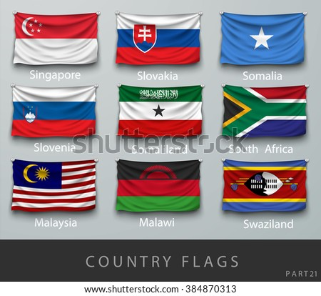 wave country flag with shadows and screws - stock vector