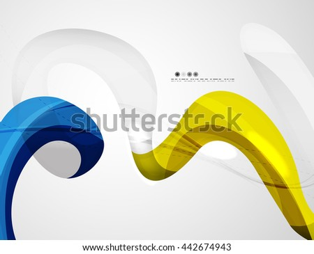 Wave light abstract background- color curve stripes and lines in various motion concepts and with light and shadow effects. Presentation banner and business card message design template set. - stock vector