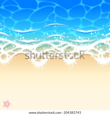 Wave of water on sandy beach - stock vector