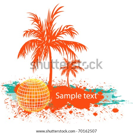 wave palm grunge banner - stock vector