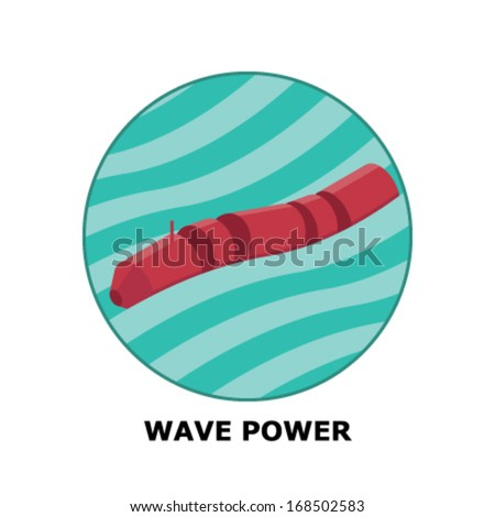 Wave Power, Renewable Energy Sources - Part 4  (both circle and square version is available in the vector file) - stock vector