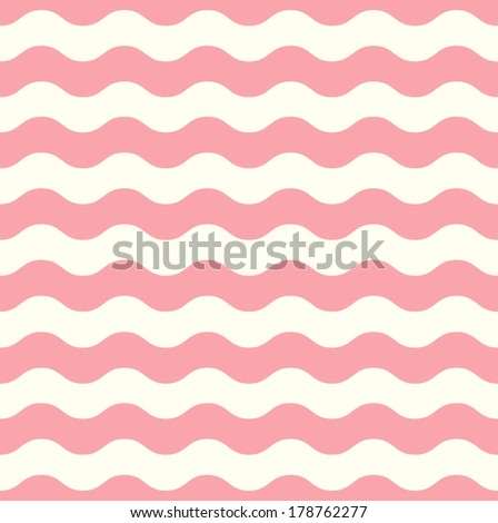 Wave retro seamless pattern - pastel pink and white  - stock vector