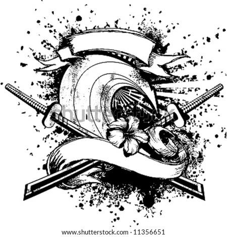 wave samurai emblem - stock vector