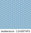 Wave simple seamless blue pattern - stock vector