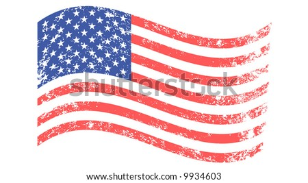 Waved flag of United States - grunge background (vector, illustration) - stock vector