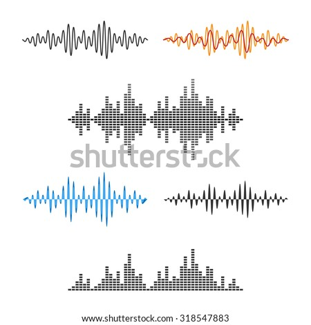 Waveform Shape. Sound wave. Audio Wave Graph Set. Vector. - stock vector