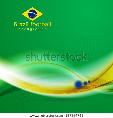 Waves background in Brazilian colors - stock vector