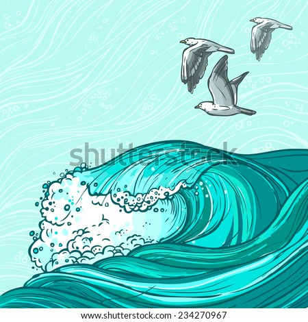 Waves flowing water hand drawn sea ocean and seagull birds colored background vector illustration - stock vector