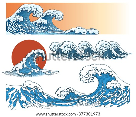 Waves in japanese style. Storm on sea or ocean, splash. Vector illustration - stock vector
