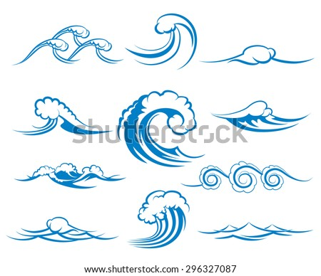 Waves of sea or ocean waves, blue water, splash and gale, vector illustration - stock vector