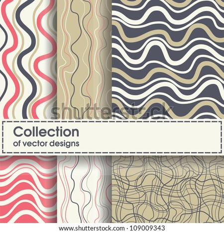 Waves seamless patterns set, vector backgrounds. - stock vector