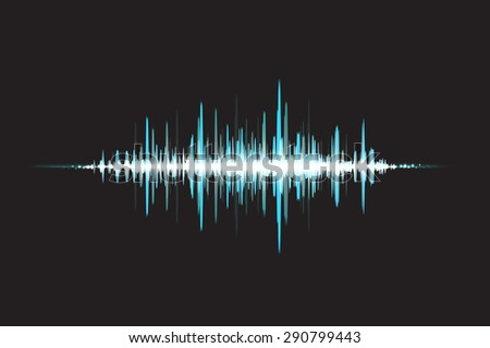 Waves Sound in glow light. Abstract background. Vector illustration - stock vector