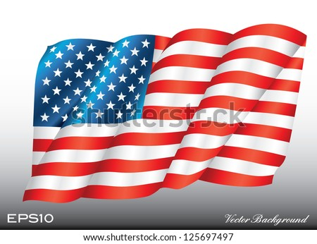 waving american us flag vector illustration - stock vector