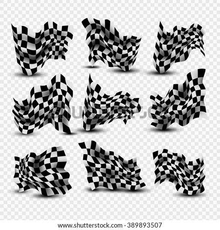 Waving Checkered Flags set - stock vector