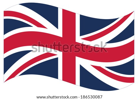 Waving flag of Great Britain isolated. Vector EPS8 - stock vector