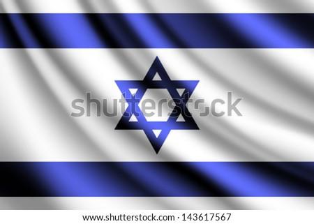 Waving flag of Israel, vector - stock vector