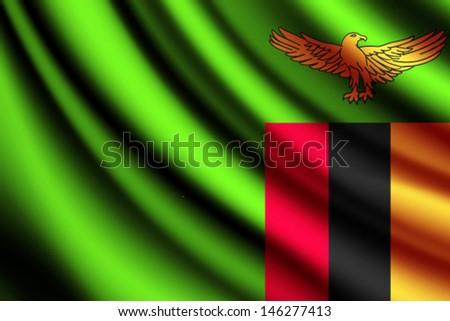 Waving flag of Zambia, vector - stock vector