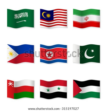 Waving flags of different countries. Flag icons on white background. Vector content. 3D waving position with shadow. Each flag is isolated on its own layer with the proper name. Set 5. - stock vector