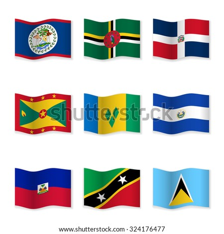 Waving flags of different countries. Flag icons on white background. Vector content. 3D waving position with shadow. Each flag is isolated on its own layer with the proper name. Set 10. - stock vector